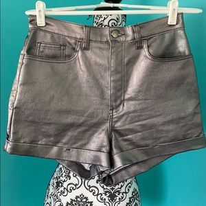 American Apparel High Waist Metallic Shorts
